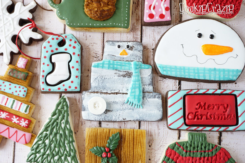 Snowman on Distressed Wood Decorated Sugar Cookie YouTube video  HERE