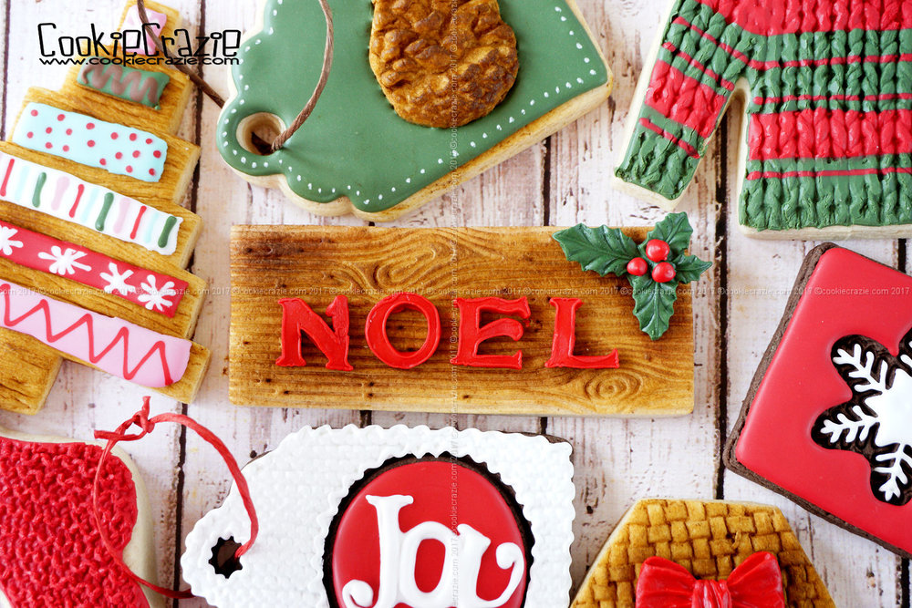Wood Grain NOEL Plaque Decorated Sugar Cookie YouTube video HERE