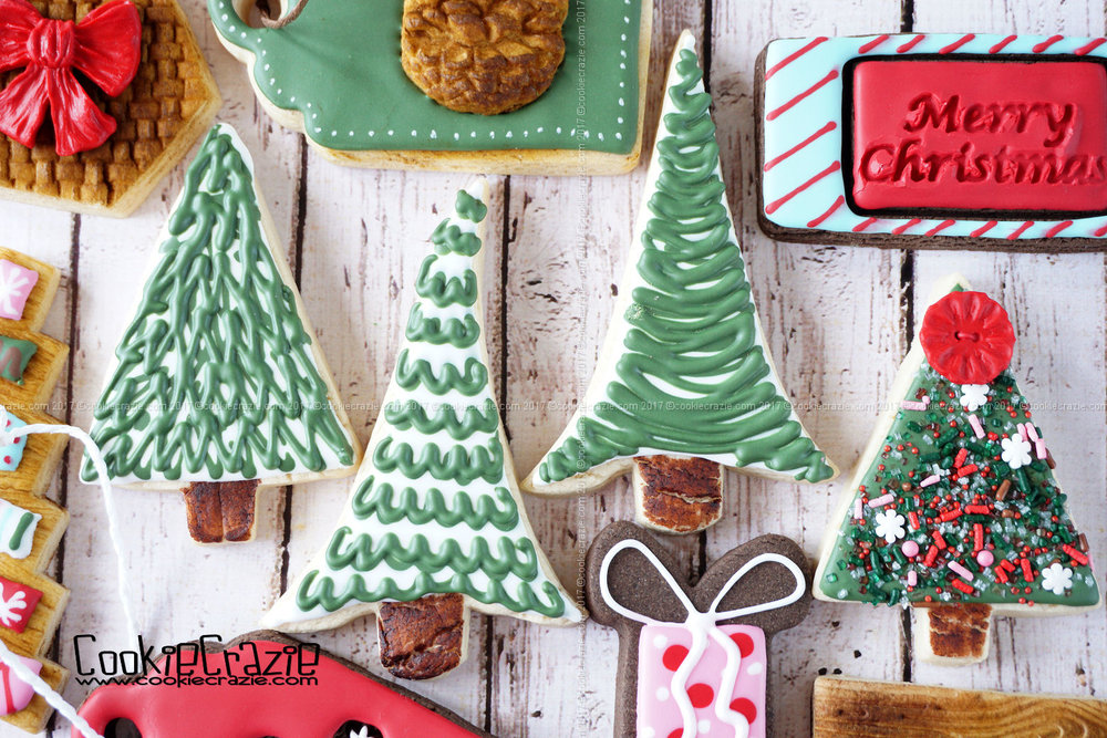 Four Christmas Trees Decorated Cookies (Tutorial)