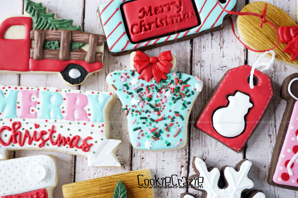 Christmas Gift with Bow Decorated Sugar Cookie YouTube video  HERE