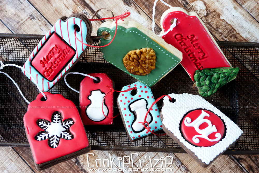 Christmas Gift Tag Decorated Cookies (Tutorial)
