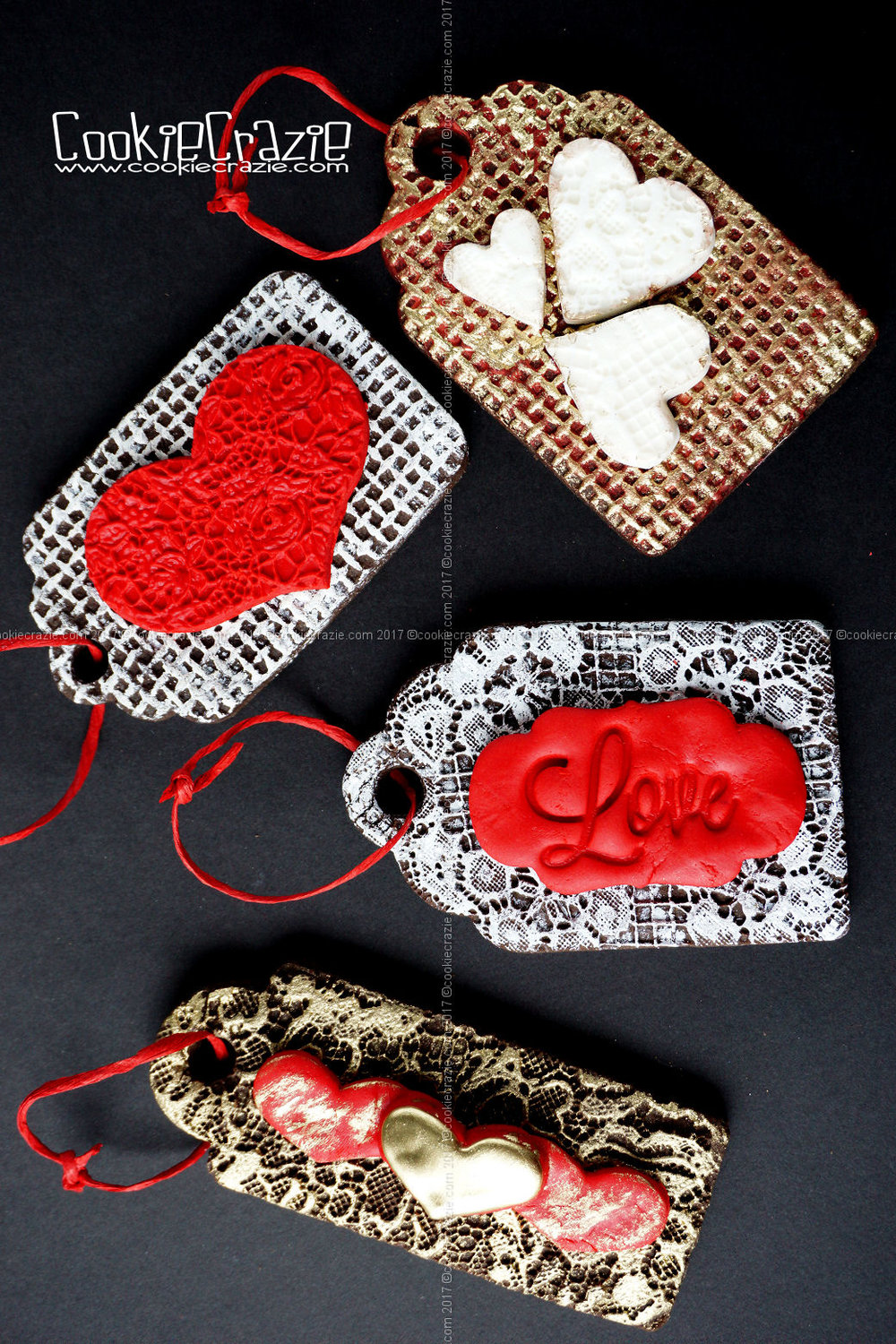 Embossed Valentine Gift Tag Decorated Sugar Cookies YouTube video  HERE         Tag Cutters found  HERE