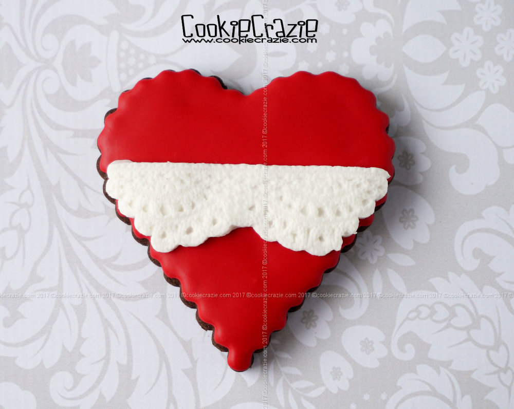 Heart with Lace Decorated Sugar Cookie YouTube video  HERE