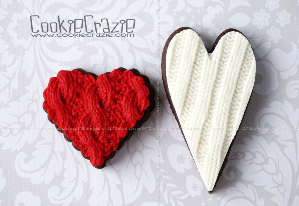 Knitted Valentines Heart Decorated Sugar Cookies YouTube video HERE