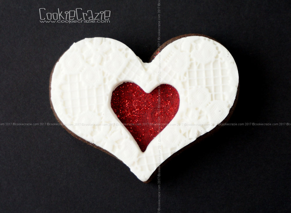 Painted Heart with Edible Clay Cut-Out Decorated Sugar Cookies YouTube video HERE