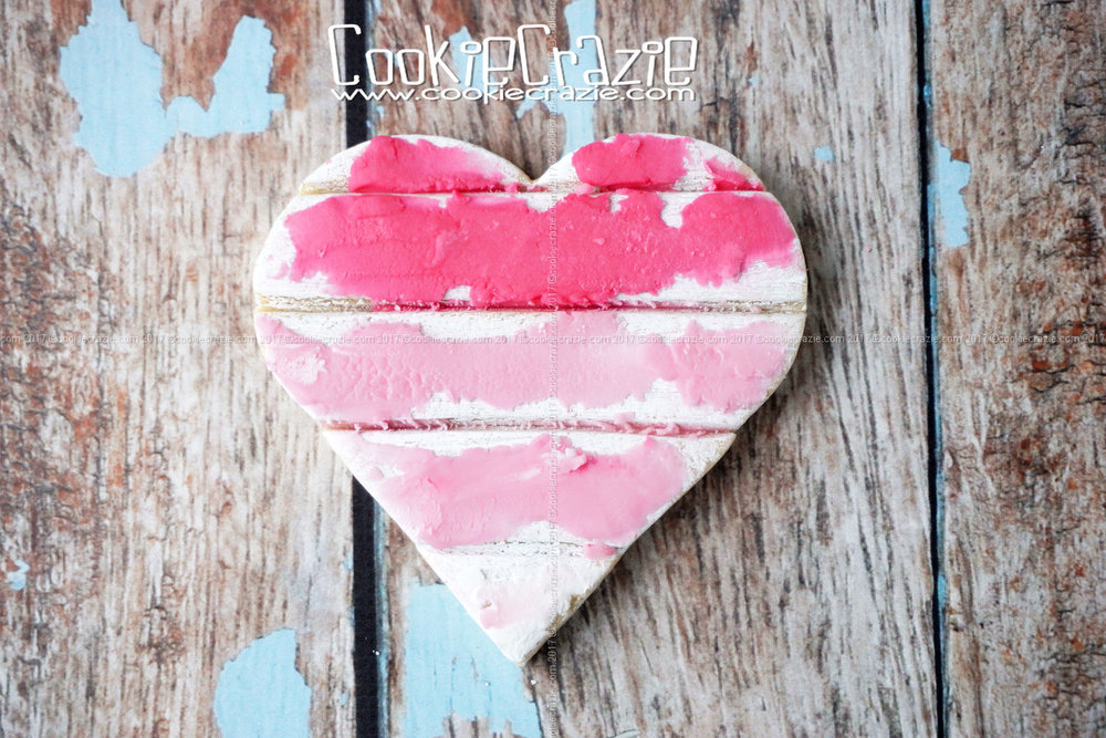 Rustic Weathered Wood Ombre Heart Decorated Cookie