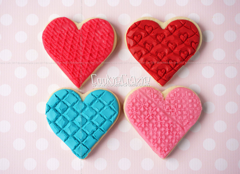 Textured Valentines Heart Decorated Sugar Cookies YouTube video  HERE