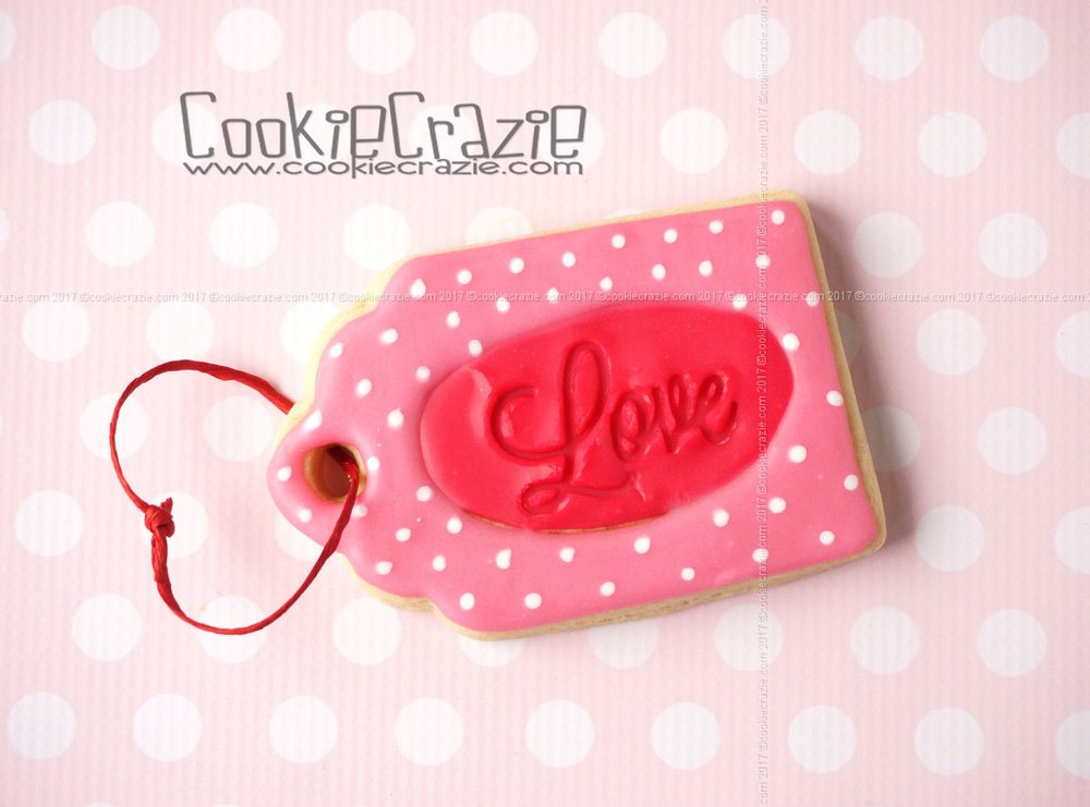 Oval Love Valentines Gift Tag Decorated Cookie YouTube video  HERE
