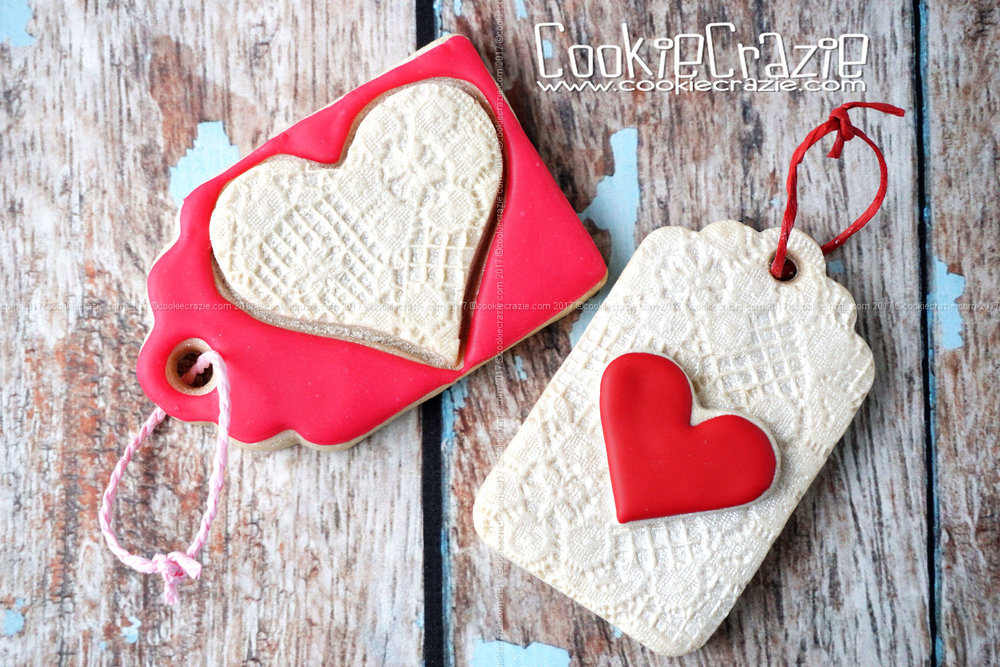 Lacy Valentine Heart Gift Tag Decorated Sugar Cookies YouTube video  HERE