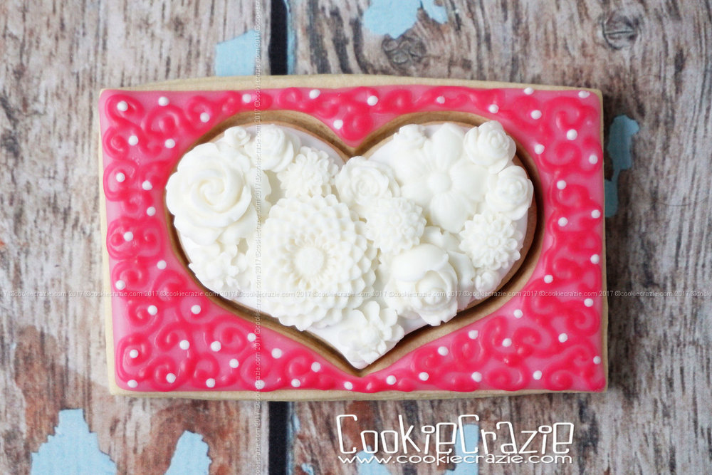 Flower Filled Heart Decorated Sugar Cookie YouTube Video  HERE