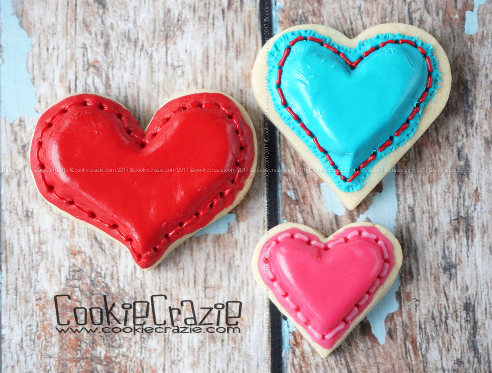 Puffy Stitched Heart Decorated Cookies blog post  HERE