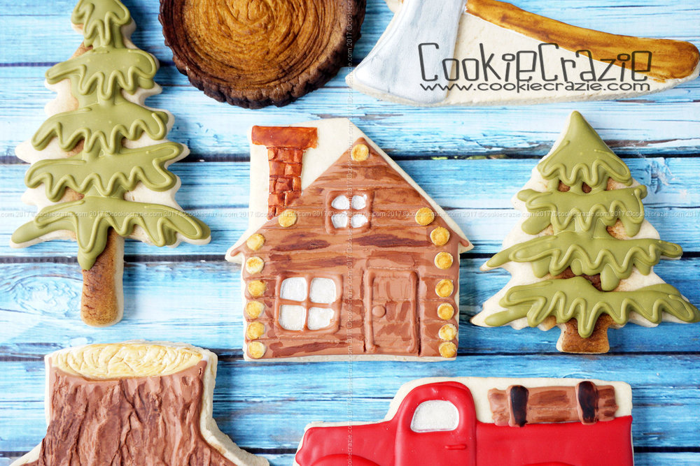 Log Cabin Decorated Cookie YouTube video found  HERE
