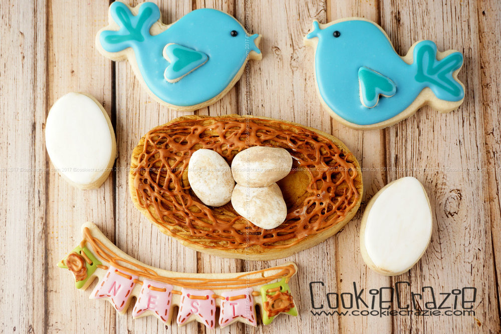 Birds Nest Decorated Sugar Cookie YouTube video  HERE