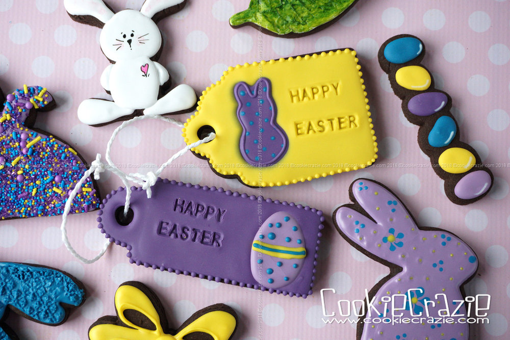 Easter Gift Tag Decorated Sugar Cookie YouTube video found  HERE  Gift Tag cutters found  HERE