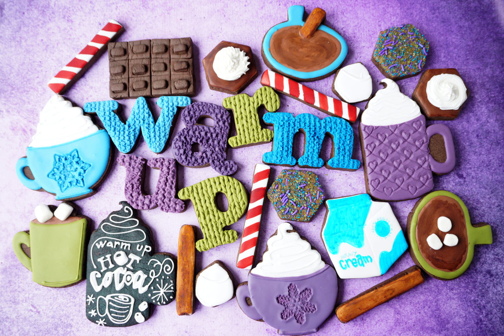 Hot Cocoa WARM UP Decorated Cookie Collection