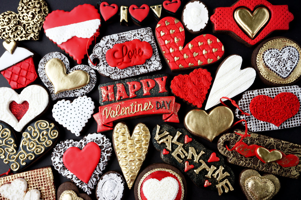 Golden Valentines Decorated Cookie Collection