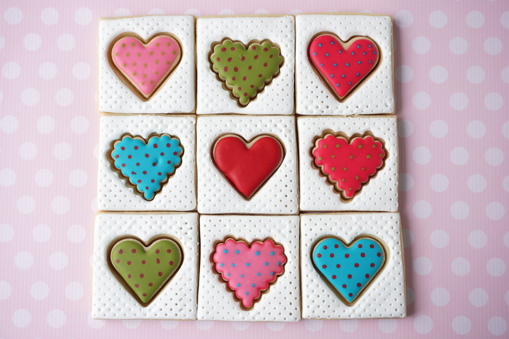 Heart Patchwork Quilt Decorated Cookie Collection     YouTube video  HERE