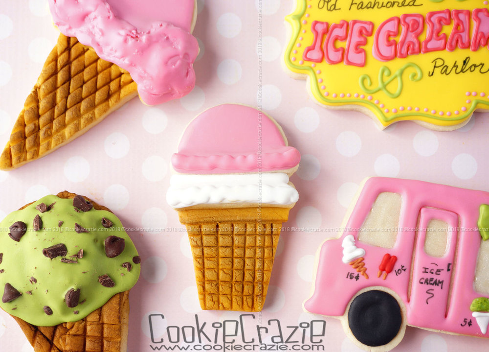 Double Scoop Ice Cream Cone Decorated Sugar Cookie YouTube video  HERE