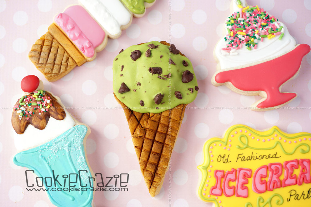 Mint Chip Waffle Ice Cream Cone Decorated Sugar Cookie YouTube video  HERE