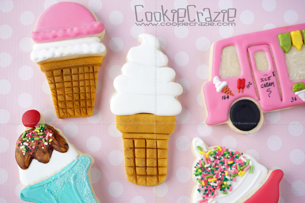Soft Serve Ice Cream Cone Decorated Sugar Cookie YouTube video  HERE