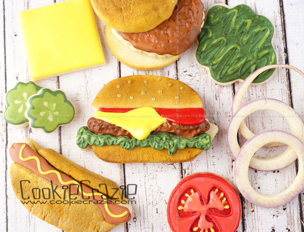 Hamburger Decorated Sugar Cookie YouTube video  HERE
