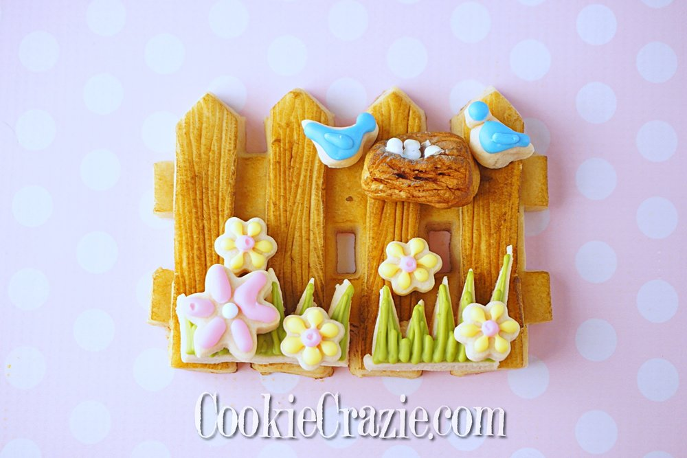 Spring Fence Decorated Sugar Cookie Scene YouTube video  HERE