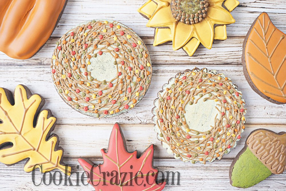 Fall Wreath Decorated Sugar Cookie YouTube video  HERE