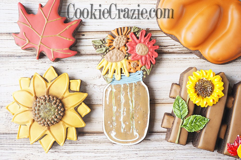 Fall Bouquet in Mason Jar Decorated Sugar Cookie YouTube video (Click on Photo)