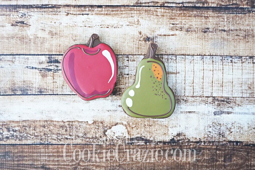 Apple & Pear Decorated Sugar Cookies YouTube video  HERE