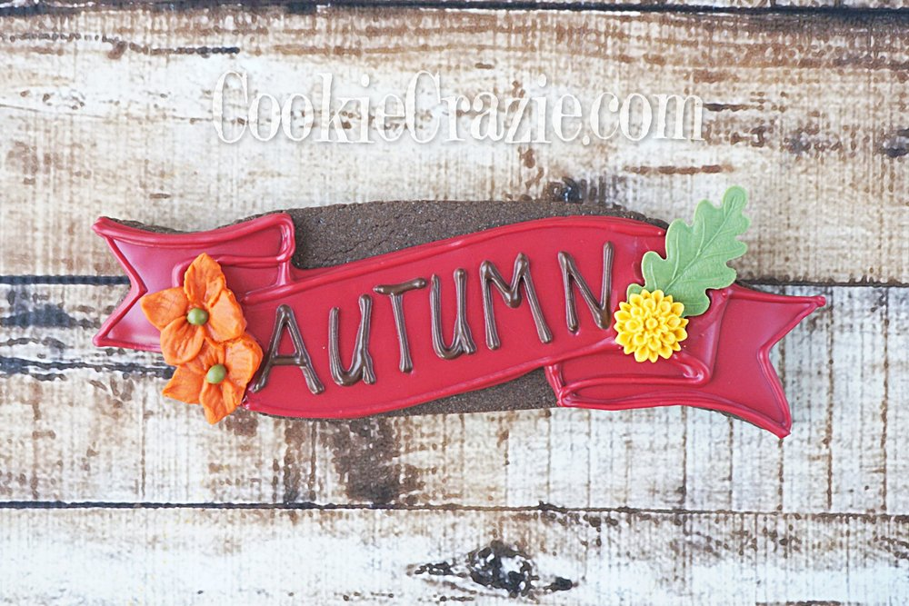Autumn Banner Decorated Sugar Cookie YouTube video  HERE