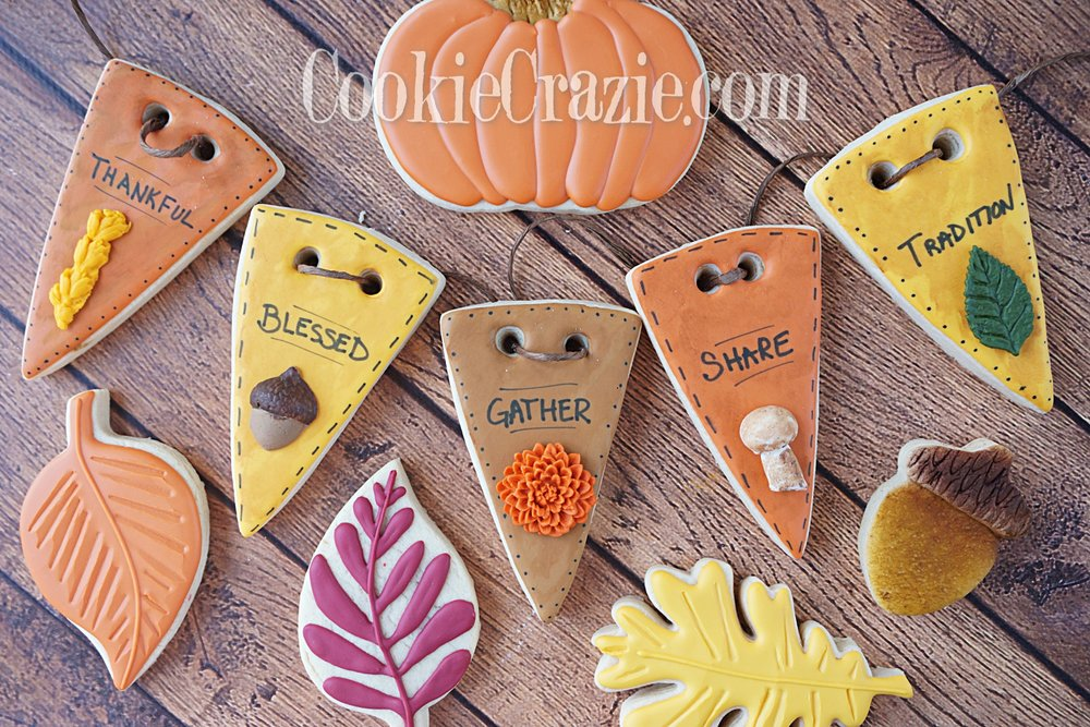 Thanksgiving Bunting Decorated Sugar Cookies YouTube video  HERE