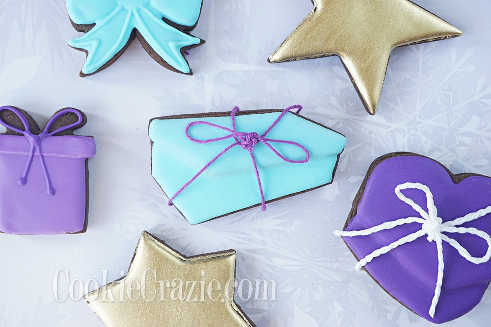 Christmas Gift Box Decorated Sugar Cookie YouTube video  HERE