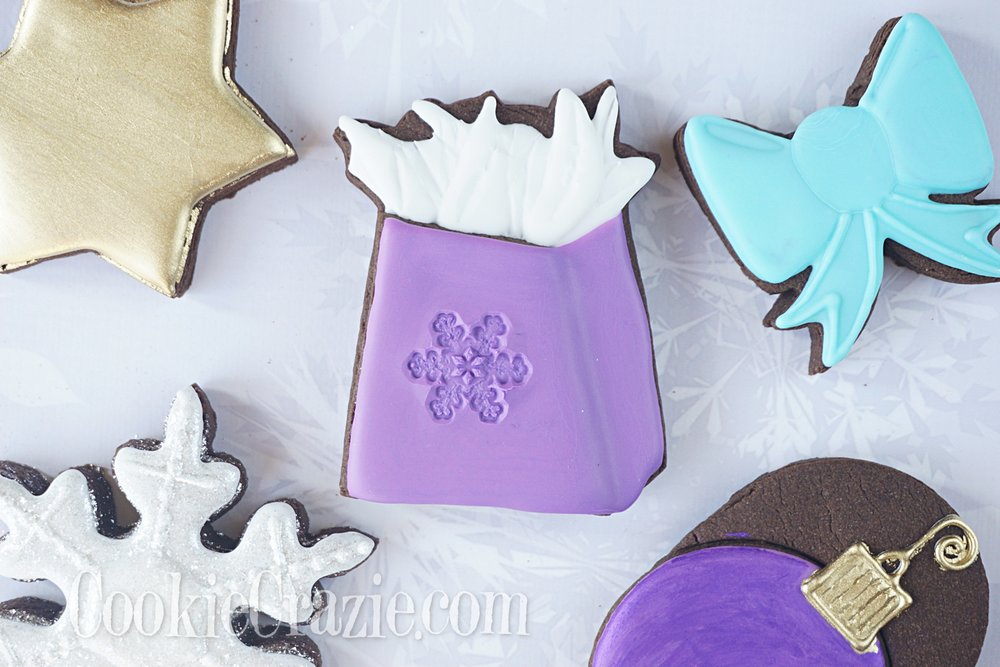 Snowflake Gift Bag Decorated Sugar Cookie YouTube video  HERE