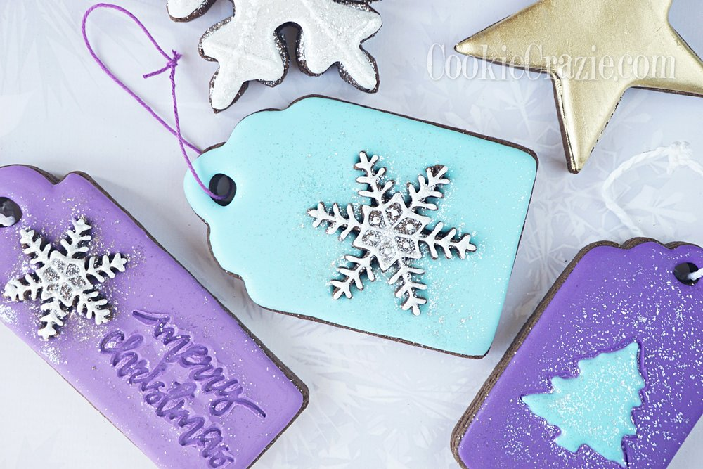 Snowflake Gift Tag Decorated Sugar Cookie YouTube video  HERE