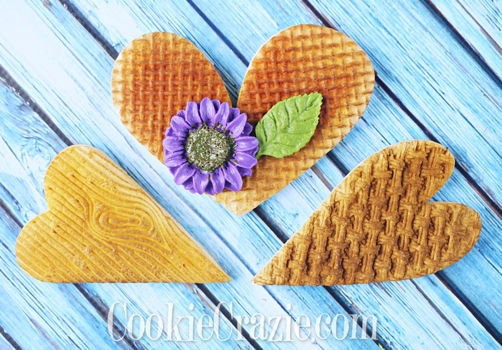 Basket, Burlap & Woodgrain Valentines Heart Decorated Sugar Cookies YouTube video  HERE