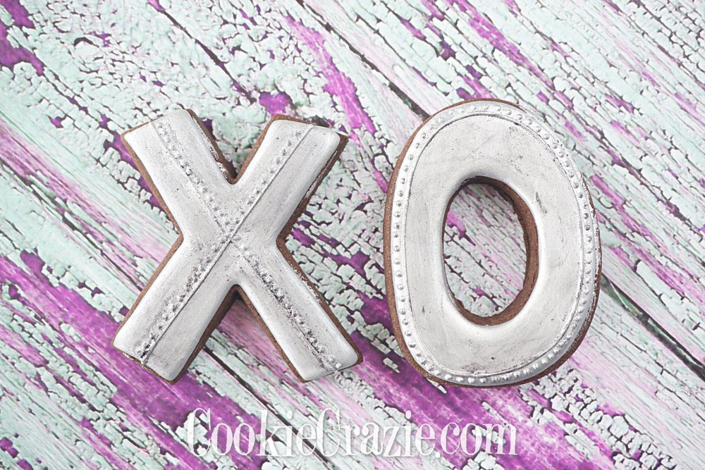 Galvanized Metal XO Valentines Decorated Sugar Cookies YouTube video  HERE