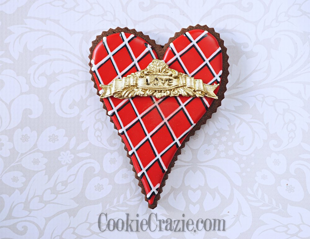 Plaid Valentines Heart Decorated Sugar Cookie YouTube video  HERE
