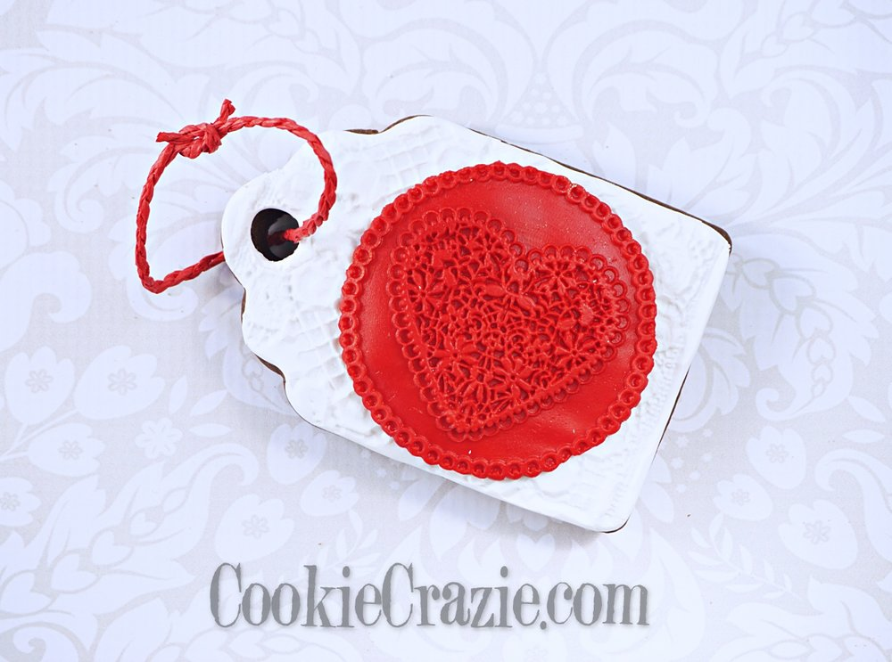 Valentines Heart Gift Tag Decorated Sugar Cookie YouTube video  HERE