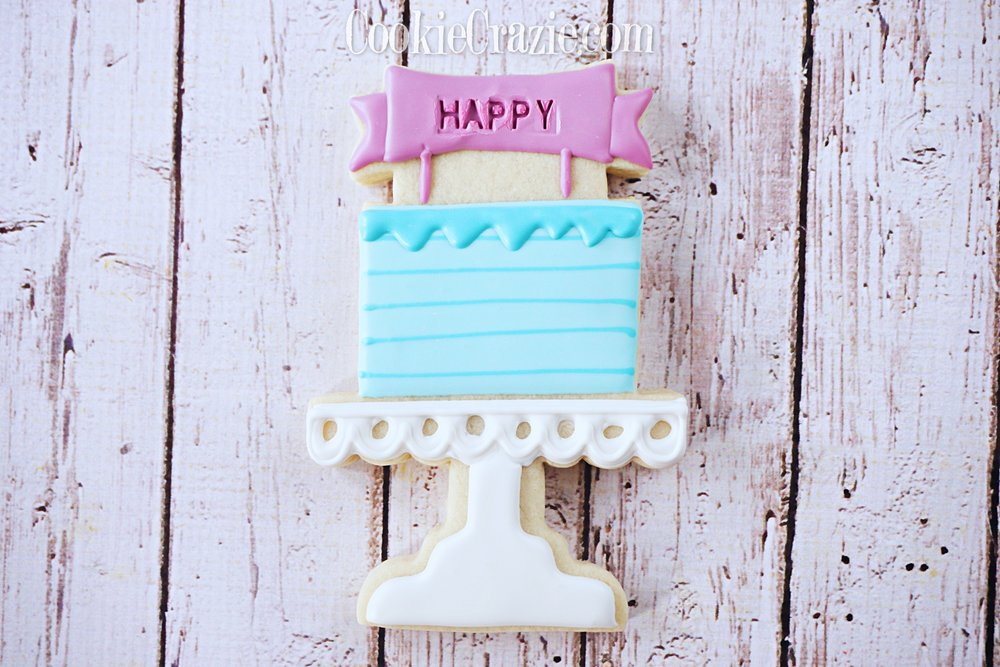 HAPPY Pedestal Stand Birthday Cake Decorated Sugar Cookie YouTube video  HERE