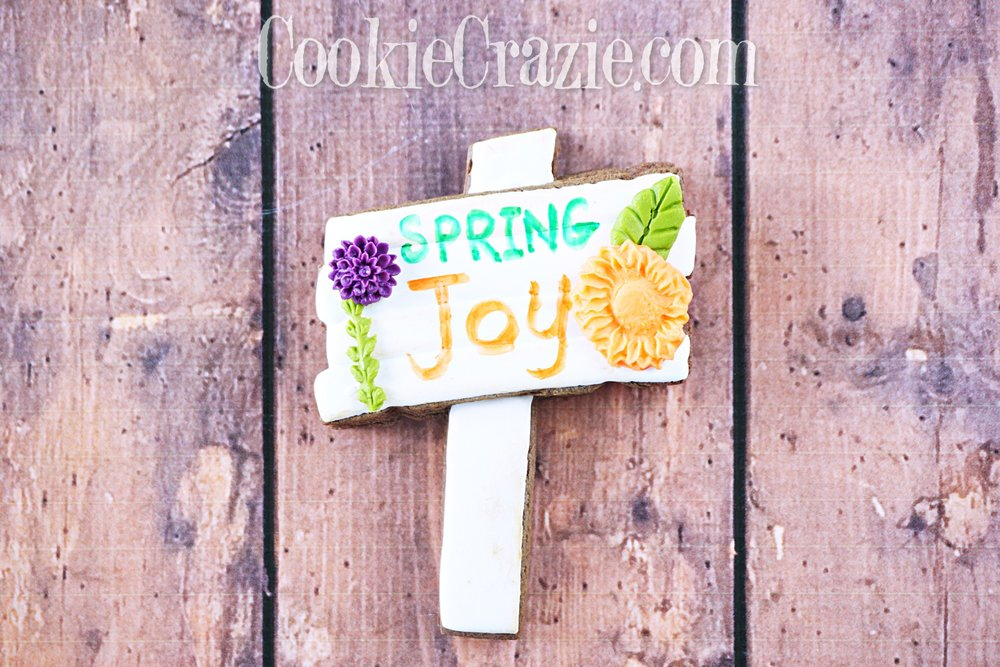 Spring Joy Wooden Sign Decorated Sugar Cookie YouTube video  HERE