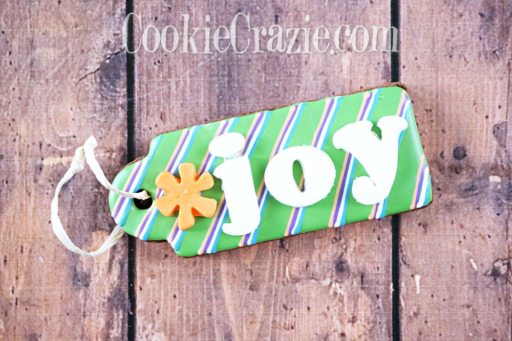 Spring JOY Gift Tag Decorated Sugar Cookie YouTube video  HERE