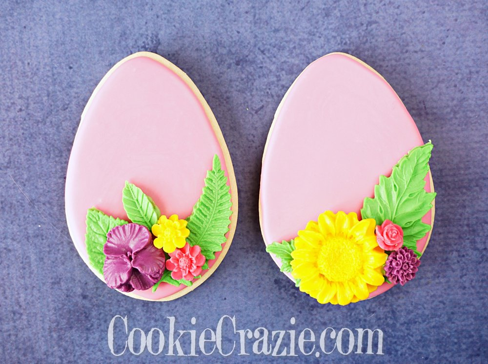Easter Egg with Flowers Decorated Sugar Cookie YouTube video  HERE