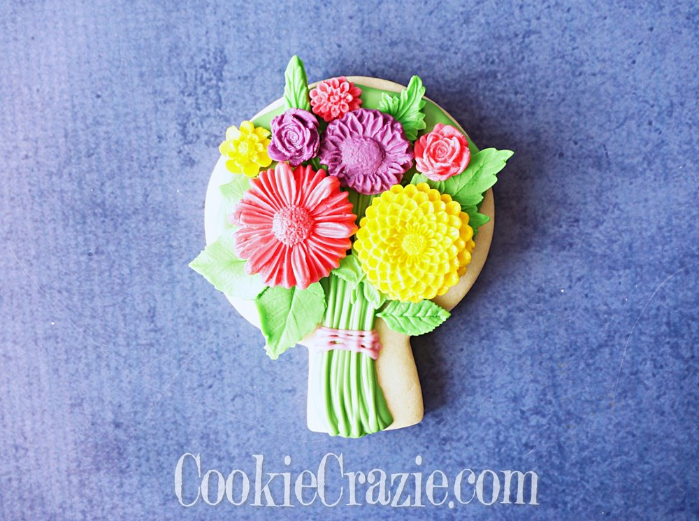 Spring Floral Bouquet Decorated Sugar Cookie YouTube video  HERE