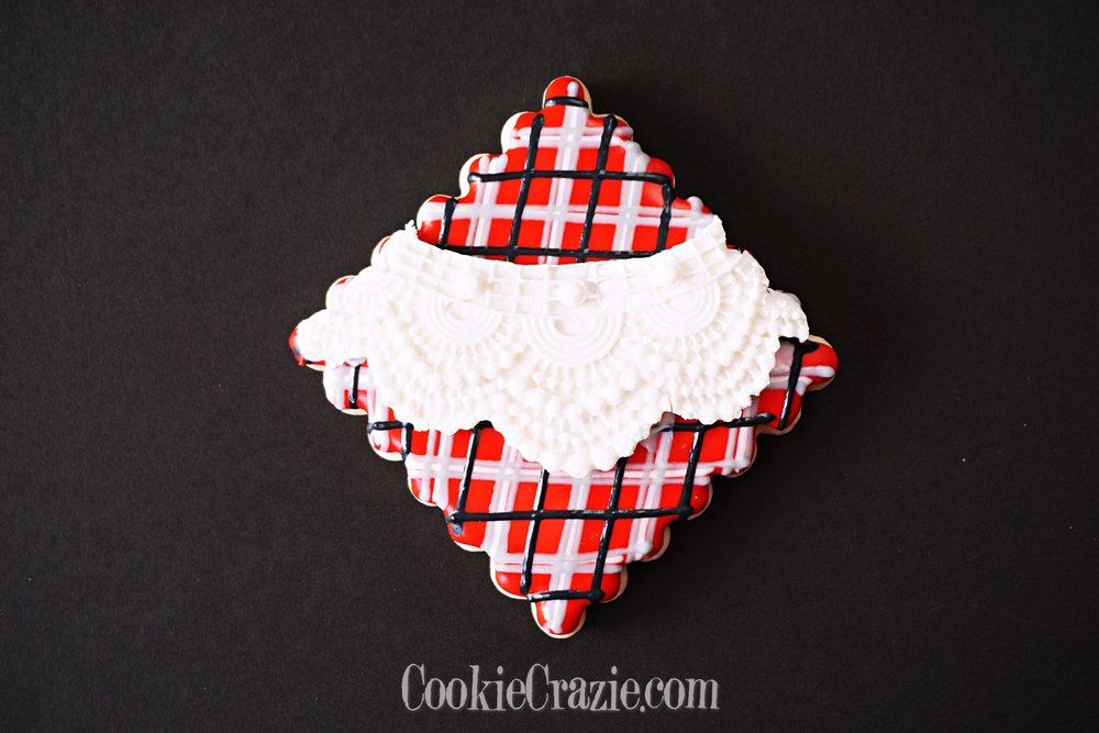 Plaid Square with Lace Decorated Sugar Cookie YouTube video  HERE