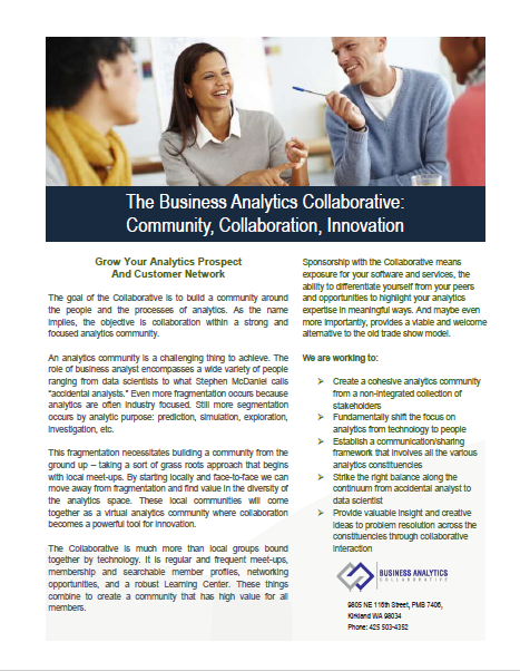 Sales sheet for Business Analytics Collaborative.