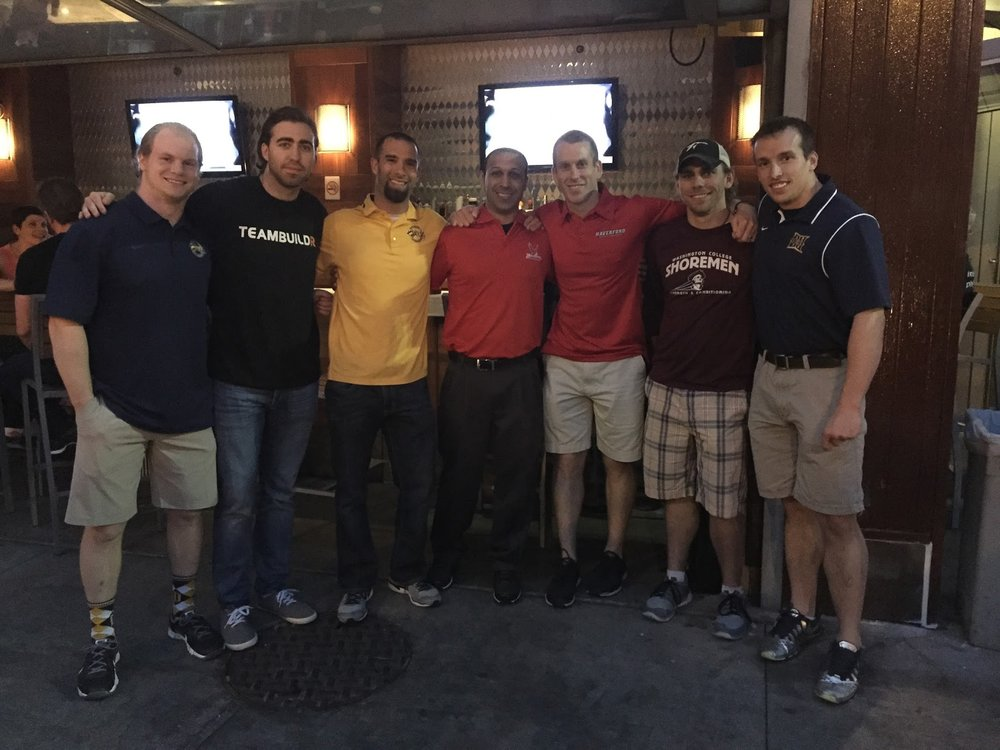 Hewitt (2nd from left) in Philadelphia at a Strength Coach's Happy Hour after the Philly Area Strength Coaches Roundtable event that TeamBuildr sponsors every year.