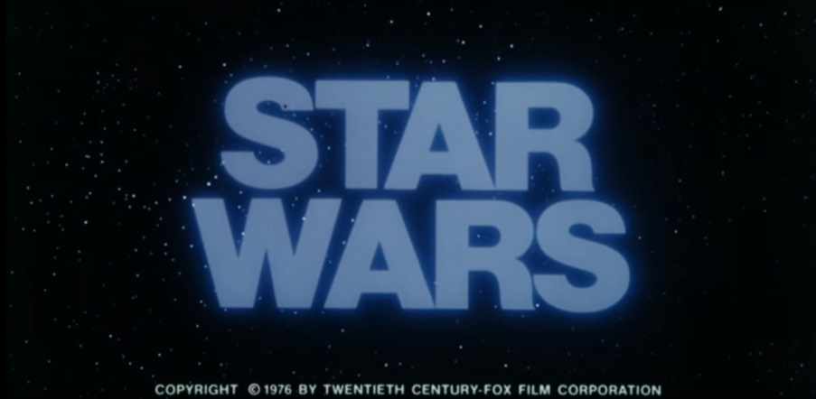 STAR WARS logo from the 1976 teaser trailer.