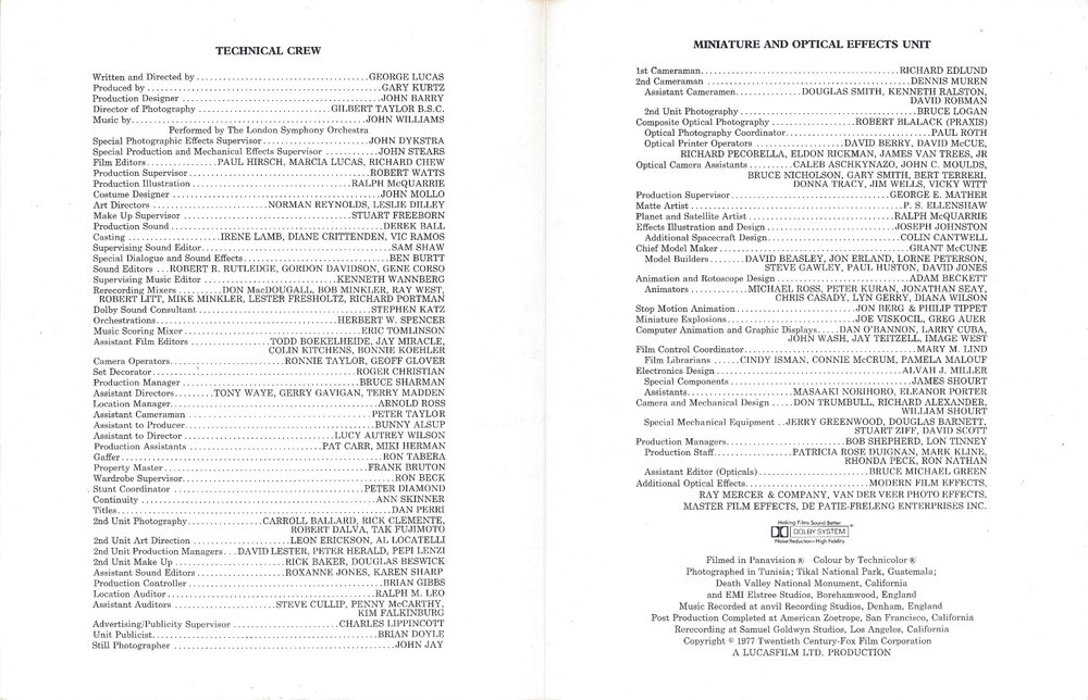 Star Wars Credit Sheet Interior (U.K. Version)