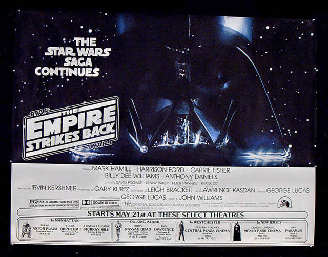 New York Area  Empire Strikes Back  Exclusive Engagement Poster (Menlo Park Cinema listed in the lower right) - Via CinemaTreasures.org