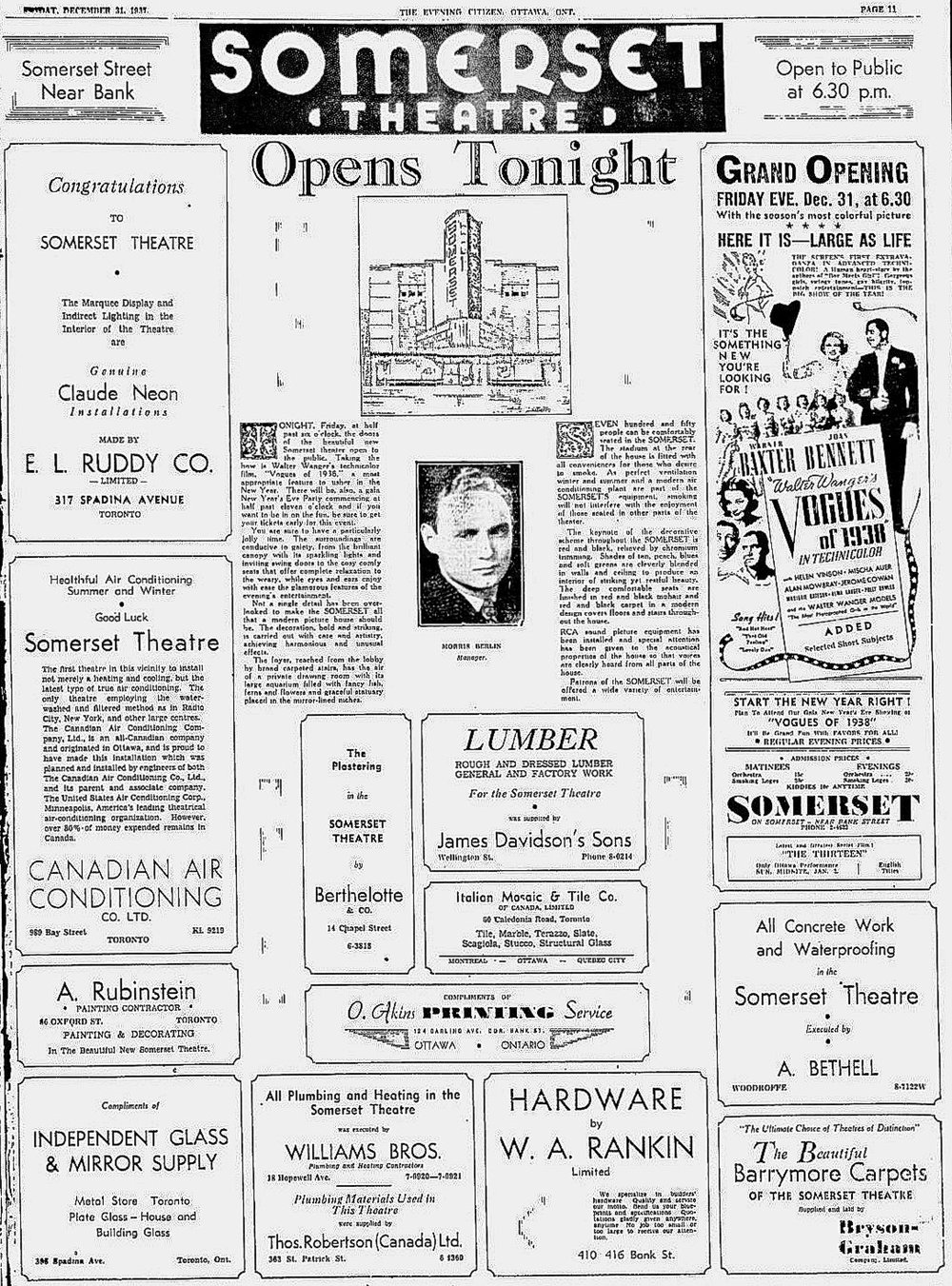 Opening of the Somerset -  The Evening Citizen  (December 31st, 1937)